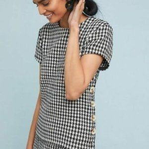 Anthropologie Maeve Houndstooth Button Top